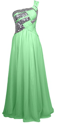 MACloth Women One Shoulder Long Briesmaid Dress Wedding Evening Party Gown Menta