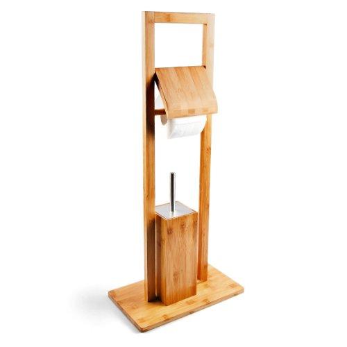 Relaxdays WC Garnitur aus Bambus H x B x T: ca. 82 x 36 x 21 cm Standgarnitur mit Toilettenbürste und Klorollenhalter schicker Toilettenpapierhalter aus Holz mit hygienischem Kunststoffbehälter, natur