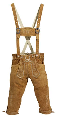 BAVARIA TRACHTEN Lederhosen Men, Original German Design - Authentic German Mens Oktoberfest Outfit/Clothing - Real Leather, Long (Brown) -