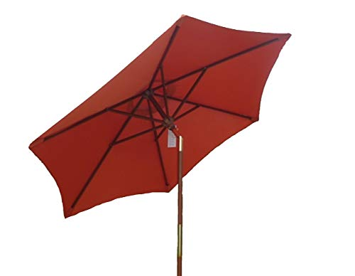 Formosa Covers 7ft Wooden Market Umbrella with tilt Mechanism - Terra Color (Furniture Garden Parasol Teak)