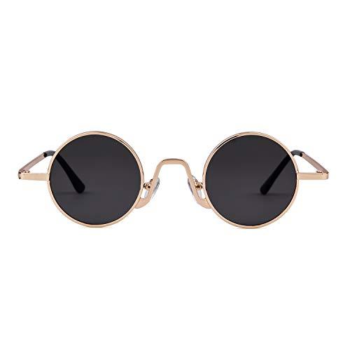sol con Redondo Vintage Hombres ADEWU borde de Eyewear Lente Oro metal Style Gafas Marco fino 1 Street ovaladas Gris de Mujeres WZ8wwOxIEq