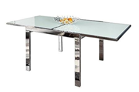 Dunord Design Esstisch Tisch Italia 90 180cm Ausziehbar Weiss Chrom