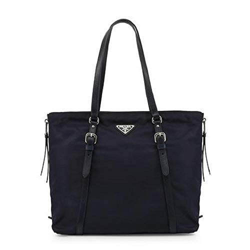 Prada Navy Tessuto Nylon Soft Calf Leather Trim Shopping Tote Handbag 1BG228