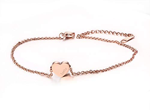 VNOX Stainless Steel Heart Anklets Bracelet Foot Chain Jewelry,Rose Gold Plated,Nickel Free 8.7