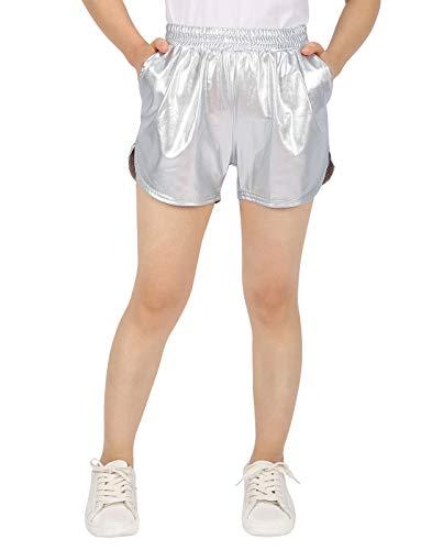 HDE Teen Metallic Shorts Big Girls Workout Dance Theme w/Elastic Band & Pockets
