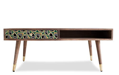 Edloe Finch Quinn Solid Wood Mid-Century Modern Coffee Table with Drawer Painted Peacock Honey