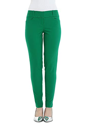 SATINATO Women's Straight Pants Stretch Slim Skinny Solid Trousers Casual Business Office (4 Regular, Green)