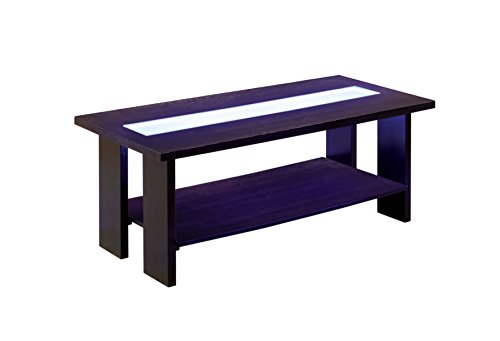 Furniture of America Crownguard 3-Way LED Lighted Coffee Table, Espresso