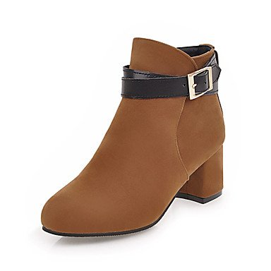 RTRY Women's Shoes Nubuck leather Leatherette Fall Winter Fashion Boots Bootie Boots Chunky Heel Round Toe Booties/Ankle Boots Buckle For US9 / EU40 / UK7 / CN41 0rHO39wj