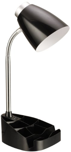 Limelights LD1002-BLK Gooseneck Organizer Desk Lamp with iPad Stand or Book Holder, Black by Limelights