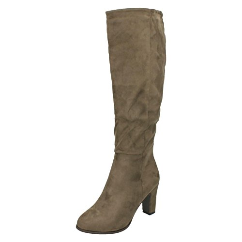 Spot On Ladies Heeled Knee High Boots F50554 Taupe (Beige)