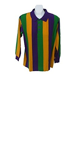 (Boolala Mardi Gras Vertical Stripe Long Sleeve Polo Shirt (Medium))