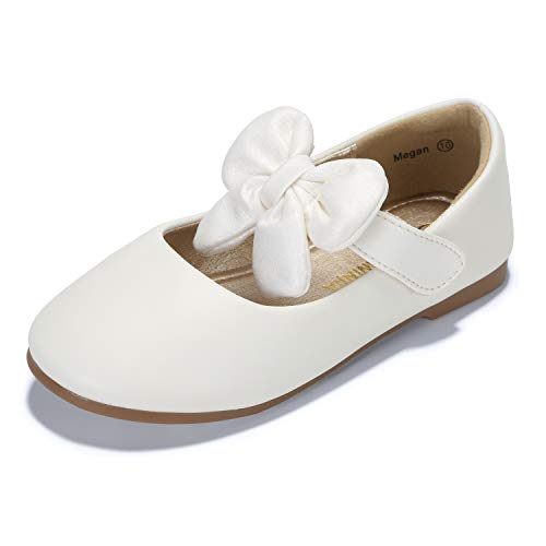 PANDANINJIA Toddler/Little Kid Megan Flower Girl Dress Shoes School Wedding Party White Mary Jane Ballet -