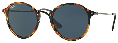 Ray-Ban ACETATE MAN SUNGLASS - SPOTTED BLUE HAVANA Frame GREY Lenses 49mm - Fleck Ray Round Glasses Ban