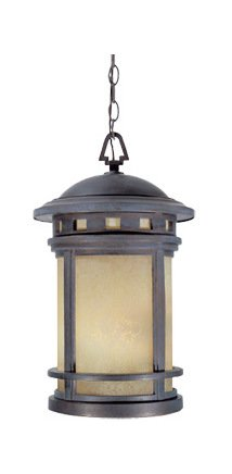 Mediterranean Patina W/amber 3 Light 11in. Cast Aluminum Hanging Lantern from the Sedona Collection by Designers Fountain