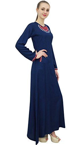 With Aari Work Blue Casual Long Navy Pockets Rayon Maxi Women Dress Bimba s twqZzAA