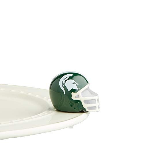 Nora Fleming Hand-Painted Mini: Michigan State Helmet (Michigan State University Football Helmet) A308