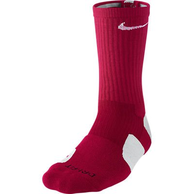 (Nike Dri-Fit Elite Basketball Crew Socks Maroon/White Medium Size Medium)