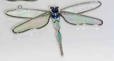 Stained Glass SKY BLUE  DRAGONFLY Handmade FIESTA COLOR Suncatcher !