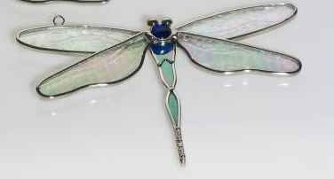 Stained Glass Dragonfly Suncatcher BLUE BODY