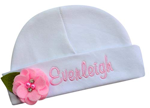 - Personalized with Name Embroidered Baby Girl Hat with Sweet Felt Flower (Light Pink)