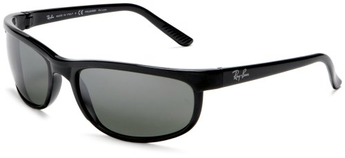 Ray-Ban Men RB2027 Predator 2 Polarized Sunglasses, Black/Grey Mirror, - Rayban Clearance