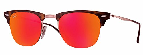 Ray-Ban TITANIUM MAN SUNGLASS - SHINY LIGHT BROWN Frame BROWN MIRROR ORANGE Lenses 49mm - Ray Titanium Ban Sunglasses
