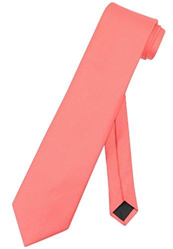 Vesuvio Napoli NeckTie Solid EXTRA LONG CORAL PINK Color Mens XL Neck Tie