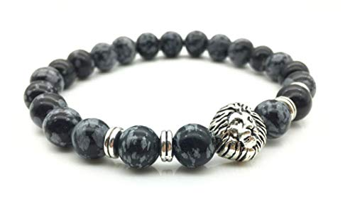 Beaded Stretch Silver Plated Bracelet (Aimys Lion Head Charm Marble Stone Elastic 925 Silver Plated Beaded Bracelet Blacksmith Silver Lion Bracelet for Women & Men 8MM)