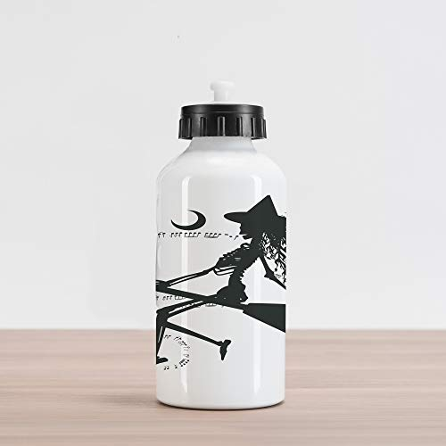 Ambesonne Music Aluminum Water Bottle, Witch Flying on Electric Guitar Notes Bat Halloween Illustration, Aluminum Insulated Spill-Proof Travel Sports Water Bottle, Black White ()