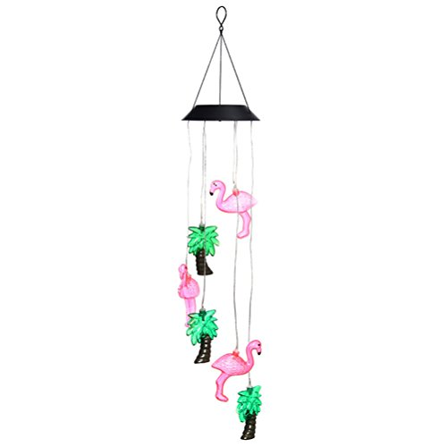 Wind Chimes Outdoor, Color Changing Solar Flamingo Tree Light Wind Chime Dangler LED Multi-color Solar Wind Spinner Night Light for Garden Patio Decoration (Flamingo Spinner Wind)
