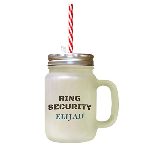 Personalized Custom Text Ring Security Frosted Glass Mason Jar With Straw