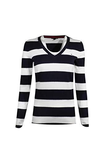 Tommy Hilfiger Womens V-Neck Stripe Sweater (Small, Wavy Navy/White)