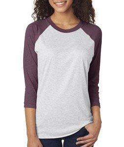 - Next Level Apparel 6051 Unisex Tri-Blend 3 By 4 Sleeve Raglan - Vintage Purple & Heather White, 2XL