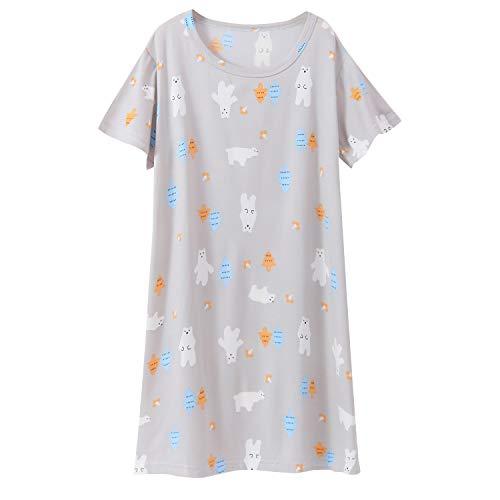 (Girl's Nightgowns Summer Sleepwear Cotton Cute Polar Bear Princess Nightdress Sleep Shirts Grey 7-8 Years)