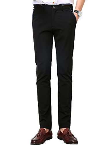 (Men's Slim Fit Wrinkle-Free Casual Stretch Pants, Fit Flat Front Pant Dress Trousers)