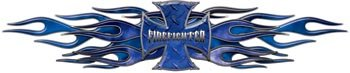 Flaming Maltese Cross Firefighter Decal - Blue - 5
