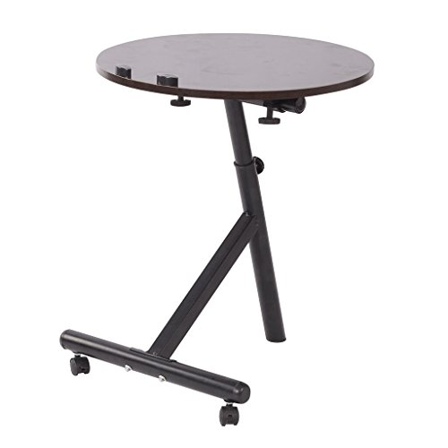 Price comparison product image Qwork Laptop Desk Table Round Coffee Table Portable Bed Tray angle and height adjustable