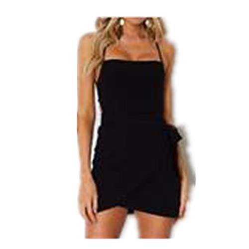 Mikey Store Women's Summer Nightclub Backless Style Holiday Solid Short Dress Bandage Spaghetti Strap Aline Evening Black ()