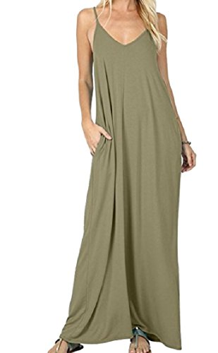 Coolred Pocket Backless Color Pullover Women Solid Long Dress Green Neck Army Loose V Strap qTwTgI