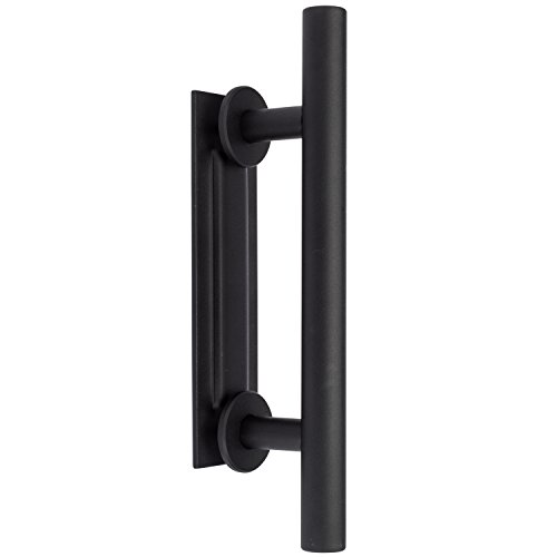 CQ Items 12'' Matte Black Steel Sliding Barn Door Handle with Flush Back Plate by CQ Items