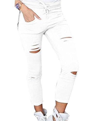 Pantaloni Strappati Stretch Slim Matita Alta A Vita Donne Bianca Pantaloni Scarni gxZ1n7nqp