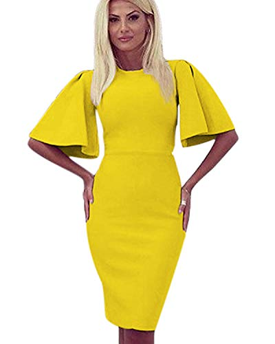 Zshujun 1950's Women's Vintage Flare Sleeve Stretchy Work Knee Bodycon Sheath Casual Party Pencil Dress 1189 (Yellow, L)