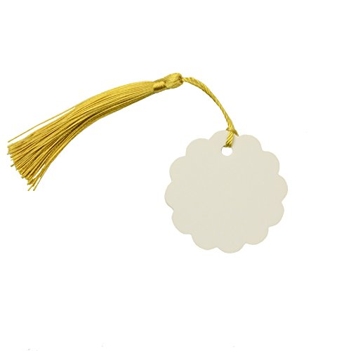 Makhry 100 Pcs Imported Hard-Paper Kraft Paper Gift Tags Wedding Favor Bonbonniere Favor Thank You Gift Tags with 100 pcs Handmade Silky Tassels (White Circle+Gold) by Makhry