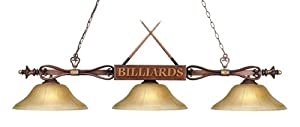 Landmark 194-WD-G6 Designer Classics 3-Light Billiard Light, 9-Inch, Wood Patina with Amber Gratina Glass Shades