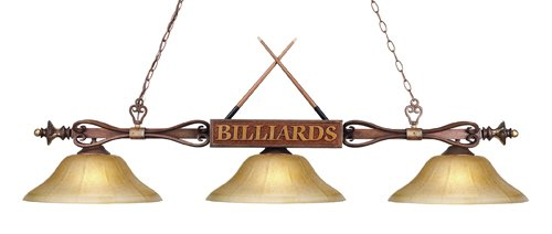 Elk 194-Wd-G6 Designer Classics 3-Light Billiard Light, 9-Inch, Wood Patina With Amber Gratina Glass Shades