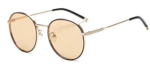 de A Marco polarizadas MOQJ Sol la UV de Haze Mujer para Gafas Vendimia de de Gafas Protección Sol D Metal Gafas Redondas R5qfdq