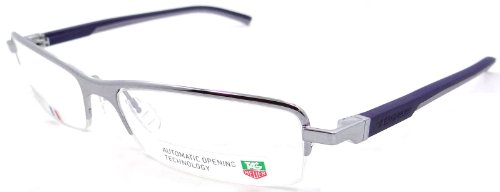 Tag Heuer Automatic Rx Eyeglasses Frames Th 0824 004 55x16 Silver Dark Blue - Glasses Tag Rimless