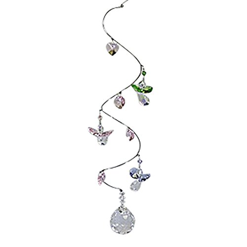 Elegant Spiral Crystal Mobile with Pastel Angel Figurine - 7 to 9 inches Long with Crystal Ball Bead - Rainbow Maker Crystal Suncatcher