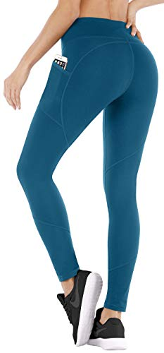 Ewedoos Yoga Pants with Pockets Ultra Soft and Comfy Yoga Leggings with Pockets for Running (EW330 Peacock Blue, -